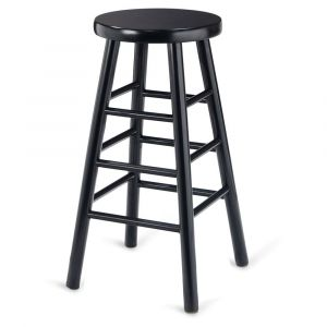 Black Wood Traditional Backless Commercial Bar Stool
