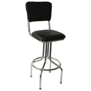 Retro Chrome Side Bar Stool  with Upholstered Seat and Back