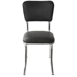 Retro Chrome Side Chair with Upholstered Seat and Back