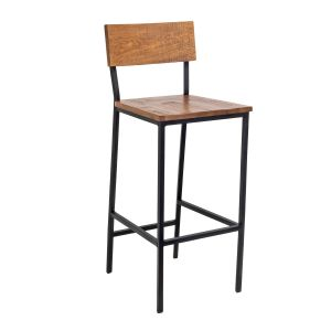 Red Oak Wood Industrial Steel Frame Restaurant Bar Stool in Walnut (Front)