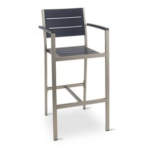 Outdoor Restaurant Bar Stool - Black Synthetic Wood Back and Seat and Brushed Aluminum Frame