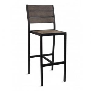 Outdoor Restaurant Bar Stool - Brushed Brown Synthetic Wood Back and Seat and Black Frame