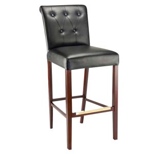 Fully Upholstered Lotus Bar Stool with Tufted Back Upholstery in Dark Mahogany
