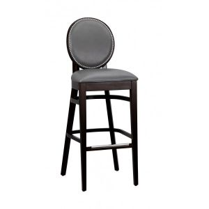 Fully Upholstered Espresso Wood Round Back Restaurant Bar Stool with Nailhead Trim (front)