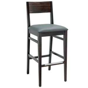 Espresso Wood Square Back Upholstered Commercial Bar Stool (Front)