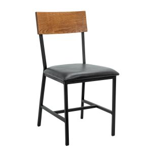 Red Oak Wood Industrial Steel Frame Restaurant Chair in Walnut (Front)