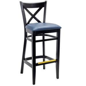 Black Wood Cross-back Commercial Bar Stool with Upholstered Seat (Front)
