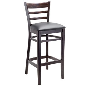 Espresso Wood Ladderback Commercial Bar Stool with Upholstered Seat (Front)