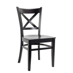 Black Wood Cross-back Commercial Chair with Wood Veneer Seat (Front)