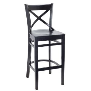 Black Wood Cross-back Commercial Bar Stool with Wood Veneer Seat (Front)