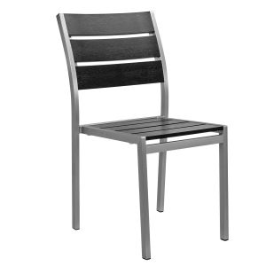 Outdoor Restaurant Chair - Black Synthetic Wood Back and Seat and Brushed Aluminum Frame (Front)