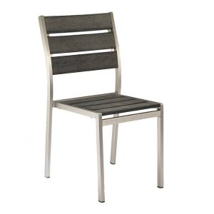 Outdoor Restaurant Chair - Brushed Pewter Synthetic Wood Back and Seat and Brushed Silver Frame (Front)