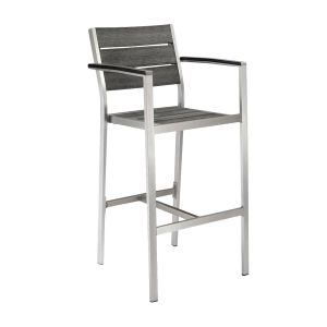 Outdoor Restaurant Bar Stool with Arms - Brushed Pewter Synthetic Wood Back and Seat and Brushed Silver Frame