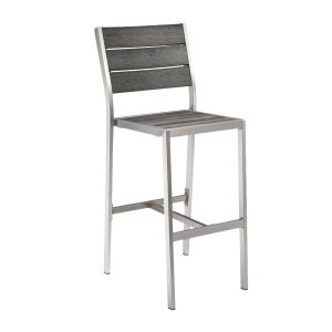 Outdoor Restaurant Bar Stool - Brushed Pewter Synthetic Wood Back and Seat and Brushed Silver Frame (front)