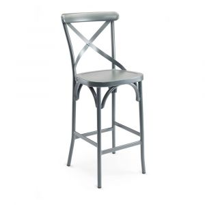 Aluminum Cross-Back Outdoor Commercial Bar Stool in Grey