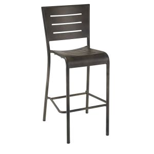 Antique-Brown Aluminum Outdoor Restaurant Bar Stool with Full Back (front)