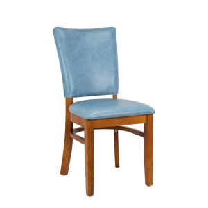 Cherry Wood Dali Side Chair with Custom Upholstered Seat and Back - SS (Front)
