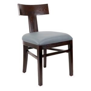 Espresso Brown T-Back Side Chair with Upholstered Seat (Front)