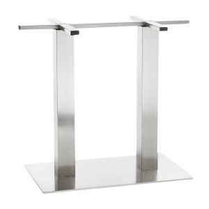 Contemporary Commercial Brushed Stainless Steel Rectangular Bar Height Table Base (16