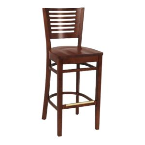 Narrow-Slat Back Commercial Bar Stool with Solid Beechwood Seat in Dark Mahogany (Front)