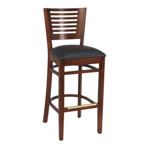 Narrow-Slat Back Commercial Bar Stool with Upholstered Seat in Mahogany (front)