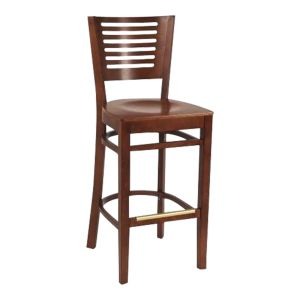 Narrow-Slat Back Commercial Bar Stool with Veneer Seat in Dark Mahogany (Front)