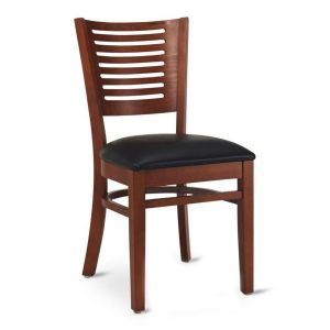 Narrow-Slat Back Commercial Wood Chair with Upholstered Seat in Dark Mahogany (Front)