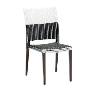 Aluminum Frame Black and White Synthetic Wicker Chair - NEW!
