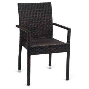 Square-Back Synthetic Wicker Outdoor Restaurant Chair with Arms  (Front)