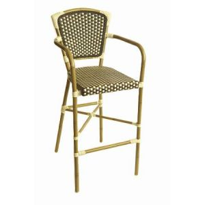 Outdoor Aluminum Bamboo Look Barstool with Arms in Brown