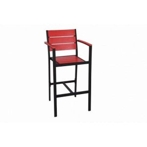 Outdoor Restaurant Bar Stool with Arms - Red Synthetic Wood Back and Seat and Black Frame