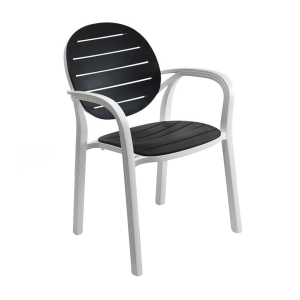 Rimini Rounded Back Stackable Outdoor Chair in Black and White (Front)