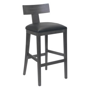 Storm Grey T-Back Bar Stool With Upholstered Seat (front)