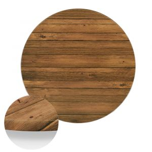 "Werzalit Distressed Walnut Round Outdoor Dining Table Top (36"")"