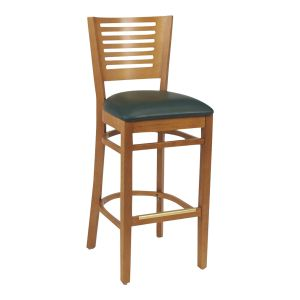 Narrow-Slat Back Commercial Bar Stool with Upholstered Seat in Cherry (front)