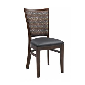 Fully Upholstered European Beechwood Commercial Side Chair with Nailhead Trim in Walnut  (front)